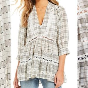 Free people boho hippie - Lace and plaid tunic top